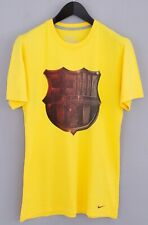 Men Nike T-Shirt FC Barcelona Yellow Cotton Crew Neck M VCA694