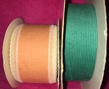 VINTAGE☆Lot☆(2)☆WFR☆RIBBON☆CORP☆Teal/Coral☆Velvet/CrinklePaper☆Unique☆Bows/Gifts