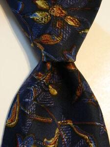 ERMENEGILDO ZEGNA Men's Silk/Wool Necktie ITALY Luxury FLORAL Blue/Orange EUC
