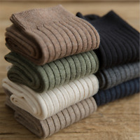 5 Pairs Mens 98%Combed Cotton Solid Dress Casual Warm Thick Soft Basic Socks Lot