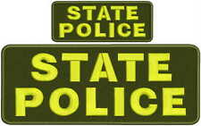 state police embroidery patches 4 X 10 and 2x5 hook black letters green yellow