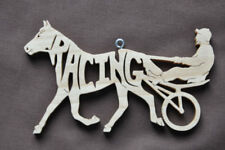 Racing Sulky Cart Horse Pony New Wood Christmas Ornament Tack Room Decoration