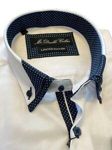MrDoubleCollar Crisp White Polka Dot Double Collar Long-sleeved Shirt *UK Stock*