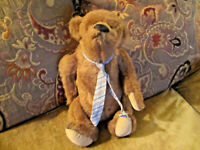 VINTAGE LINDA SPIEGEL BEARLY THERE CO JOINTED PLUSH TEDDY BEAR named ZEKE & TAG