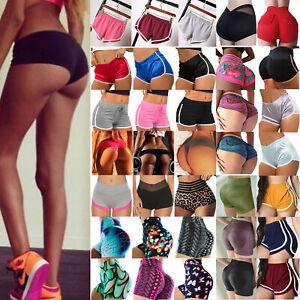 Womens Sports Yoga Mini Shorts Hot Pants Butt Lift Gym Scrunch Bottoms Trousers