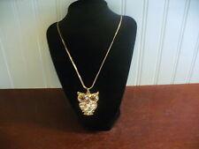 """Vintage 18 KT Rose Gold Plated Crystal Encrusted Owl Pendant 32.5"""" Necklace"""