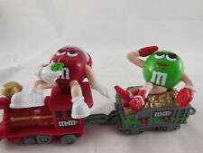 "Mars M&M's Collectible M & M Christmas 2 -2.5"" Train Engine & Car 2 Piece Lot"
