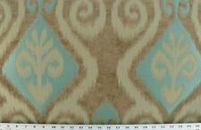 Drapery Upholstery Fabric Chenille Jacquard Ikat Design - Turquoise / Beige