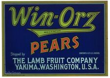 WIN-ORZ Brand, The Lamb Fruit Company, Yakima **AN ORIGINAL PEAR CRATE LABEL**