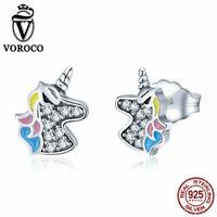Voroco S925 Sterling Silver Earrings Unicorn Charm CZ For Beauty Women Jewelry