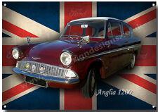 Ford Anglia 1200 Metall Schild Vintage British Built kompakt Family Auto