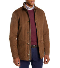 Men Brown Jacket Flap Pocket suede real cow leather jacket