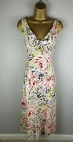 Linea Pink Floral 100% Linen Party Occasion Summer Midi Dress Size 12