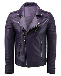 Men Faux Quilted Biker Jacket Motorcycle Slim fit Leather Jacket