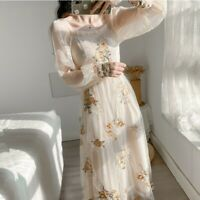 Lady Embroidery Floral Mesh Dress Puff Sleeve Ruffle Retro Elegant Midi Fashion