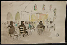 Peinture  Original Aquarelle  - PAUL COUVREUR -  Messe - Vers 1930 - PC187