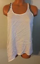 •• Womens Size 8 H&M Blouse Sleeveless Ivory Tank Top Beaded Shirt Nice!