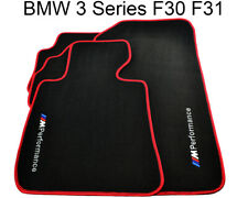BMW 3 Series F30 F31 Black Floor Mats Red Rounds With /// M Performance Logo NEW
