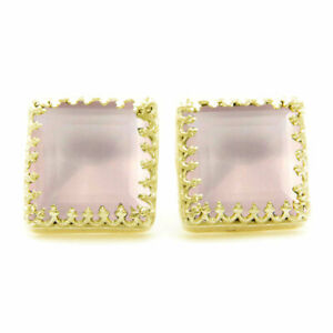 Natural Rose-Quartz Earrings Faceted Square Shape Gemstone Pink 18K Gold Plated
