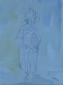IMPRESSIONIST SKETCH ON PAPER  OLD WOMAN BY MYSTERY ARTIST SIGNATURE ILLEGIBLE