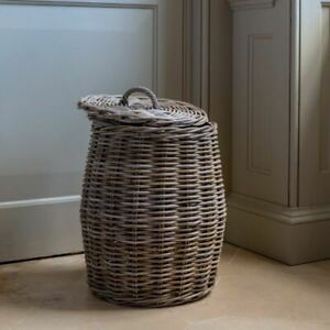 Kubu Lidded Laundry Basket, Wooden Blanket Toy Log Washing Storage Bin, Small