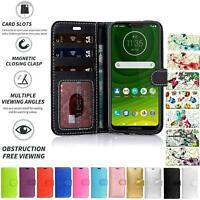 Case Cover Flip Leather Wallet Book Folio Stand For Motorola Moto G7 Play