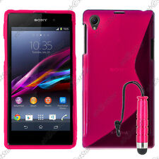 Housse Etui Coque Silicone Motif S-line Rose Sony Xperia Z1 L39H + Mini Stylet