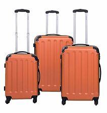3 Piece Luggage Set Hard Shell Spinner Wheels Orange