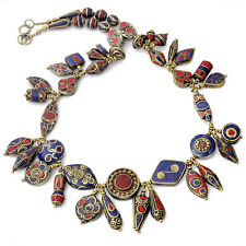 "Coral Lapis Brass 24"" Necklace Tibetan Nepalese Handmade Tibet Nepal N2373"