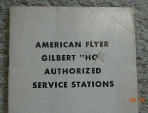 "Original AMERICAN FLYER GILBERT ""HO"" Authorized Service Stations Pamphlet"