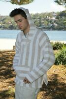 New Mexican Poncho Baja Hoodie Surfer Drug Rug Pullover Made in Mex Unisex Beige