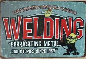 WELDING Rustic Look Vintage Tin Metal Sign Man Cave, Shed-Garage & Bar Sign