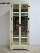 Hickory White Ivory Mebane Crystal Curio China Cabinet Hutch Chinoiserie A