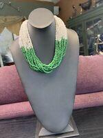 Women's Ladies Necklace Seed bead Bohemian multi strand Green White Toursade 18