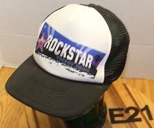 ROCKSTAR ENERGY DRINK SNAPBACK HAT MESH BACK BLACK/WHITE VERY GOOD COND E21