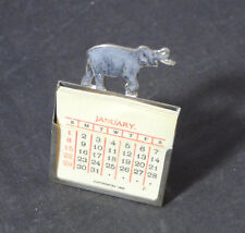 ANTIQUE 1893 STERLING SILVER & ENAMEL ELEPHANT CELLULOID DESK CALENDAR