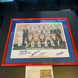 1967-68 Philadelphia 76ers NBA Champs Team Signed Photo Wilt Chamberlain JSA COA