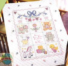 Cross Stitch Kit ~ Plaid-Bucilla Babies Are Precious Quilt Cover Quilt #40787