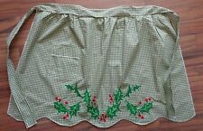 Gingham checked half apron Holly Berries Leaves embroidery wide size olive green