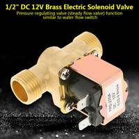"1/2"" DC 12V Electric Solenoid Valve Air Water Gas Brass N/C Normal Closed"