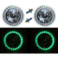 5-3/4 Halogen Green LED Ring Halo Angel Eyes Headlight Headlamp Light Bulbs Pair