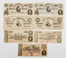 Lot of (7) 1864 United States Confederate Notes $5 $10 $20 $50 $50 $100 $100