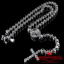 Mens Cluster Flower Rosary Necklace Lab Diamond Link Set Chain Black Gold Finish
