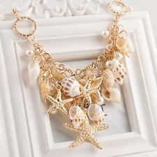3D Fashion Luxury Chunky Sea Shell Starfish Pearl Bib Gold Statement Necklace