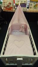 PRETTY PINK LOVE HEART 3PIECE SWINGING CRIB BEDDING SET BUMPER-QUILT-DRAPE