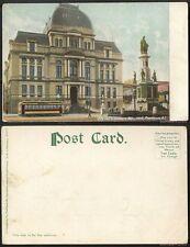 Unused Postcard-Rhode Island-#1075-City Hall,Soldiers Monument&Trolley Pre-1908