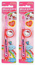 LOT 2 Firefly Hello Kitty Kids suction cup bottom Toothbrush w Cap Travel Kit