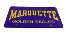 NCAA Marquette Golden Eagles College University Acrylic License Plate NWT