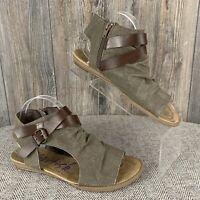 Blowfish Sandals Women's 8.5~Gladiator Flats Zipper Taupe Beige Open Toe