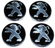 Peugeot noir roue alliage centre caps set de 4 neuf origine 9406J7